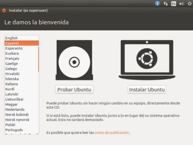 INSTALAR UBUNTU DESKTOP 16.04 LTS pantalla de bienvenida