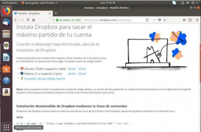 instalar dropbox en ubuntu 18.04 descarga