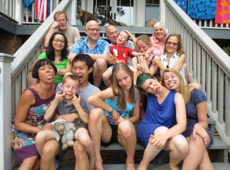 The family portrait. I always end up being the heavy and dragging everyone onto the porch for the picture.