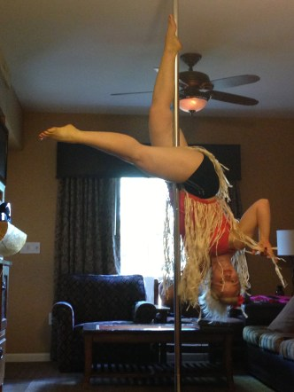 """Diane doing """"Serious"""" in a One Leg Inverted Crucefix to """"Respect"""""""