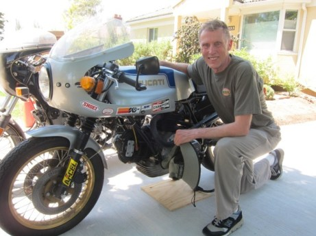 Here's my dad saying goodbye to his Ducati collection. He looks happy.