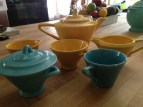 Colorful tea set by Harlequin. Does anyone want these?