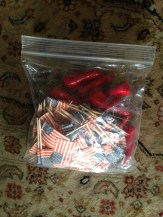 Flag toothpicks and chili pepper ornaments. DONATING TO SCHOOL.