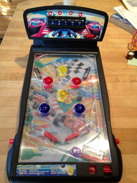 Stupid pinball game that is usually upside down on the floor and in two pieces. DONATE.