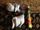 Socks left at my house after the first grade party debacle and an odd toy thingy. TRASH.