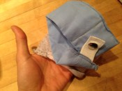 The diaper I made for the Chihuahau. Giving it to TABBY.