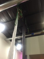 Svein from the Circus Center brought his climbing gear to rig the I-Beam for his aerialist