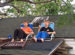 Eating dinner on the shed roof