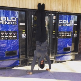 Handstands at a rest stop