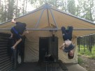 Stress testing the tent cabin
