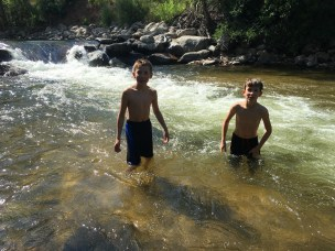 Uncle Al came by and we biked to the creek and swam