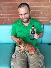 Nina's husband, Justin and a very aptly named bottle of Polestar beer
