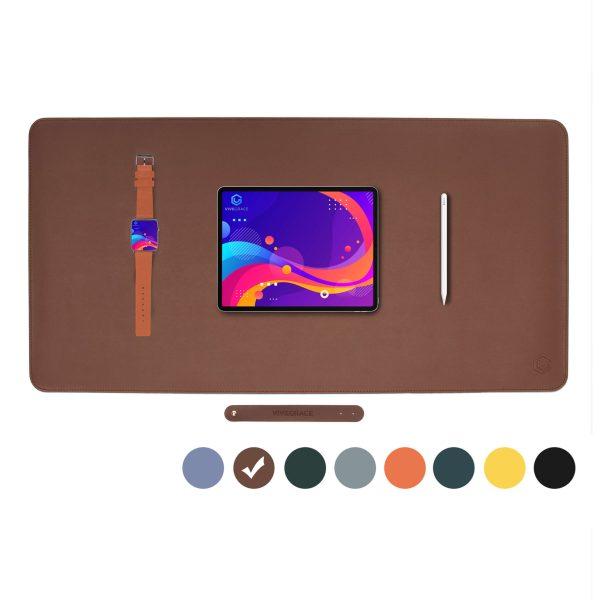 Vivegrace bureauonderlegger met tablet erop kleur bruin