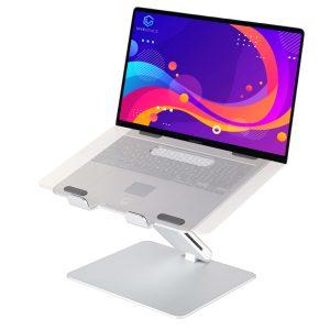 vivegrace laptopstandaard met 1 arm en met laptop erop zilver