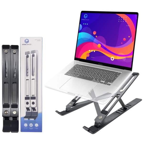 Vivegrace opvouwbare laptopstandaard met laptop erop kleur grijs