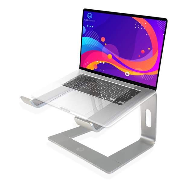 Vivegrace laptopstandaard laptop riser met laptop erop kleur zilver