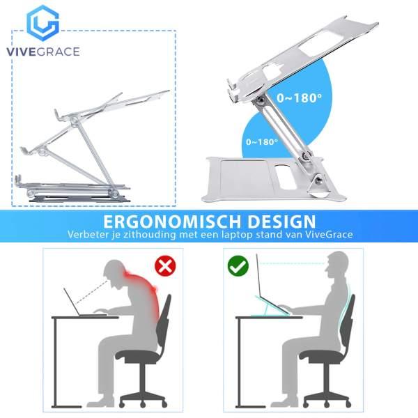 Vivegrace plaatje ergonomisch werken met laptop