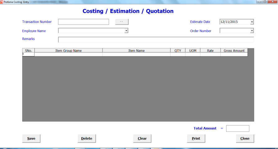 Costing quotation