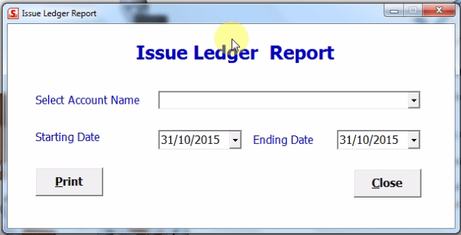 Issue ledger report