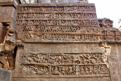 Carvings narrate stories from the epic 'Mahabharat'