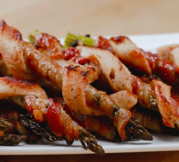 Serpentin de poulet, bacon et asperge