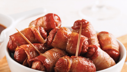 Saucisses bacon cheddar bardé de bacon
