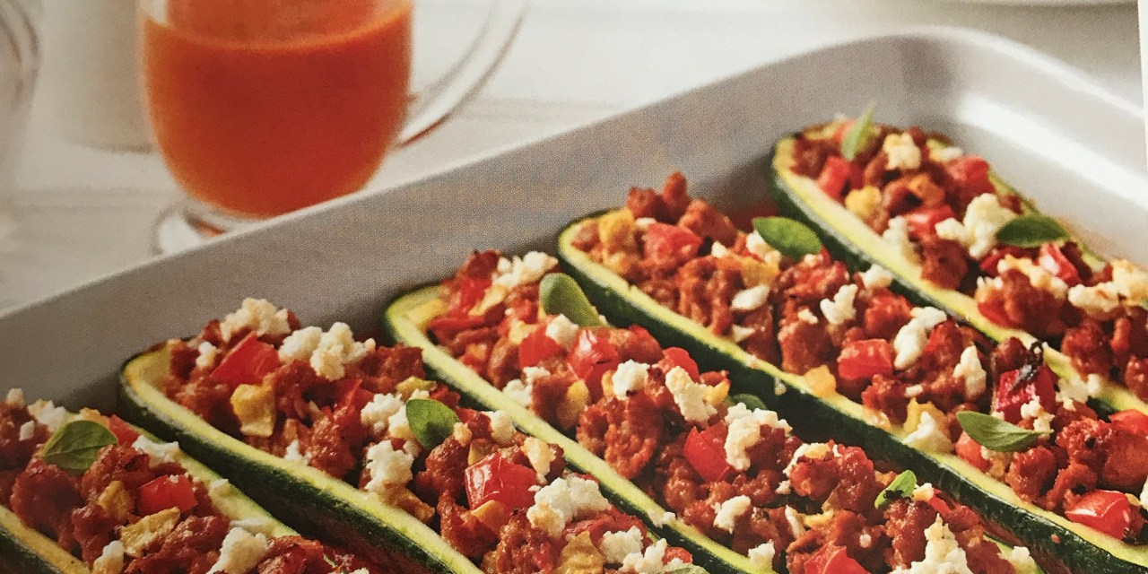 courgettes farcies à la saucisse italienne et féta