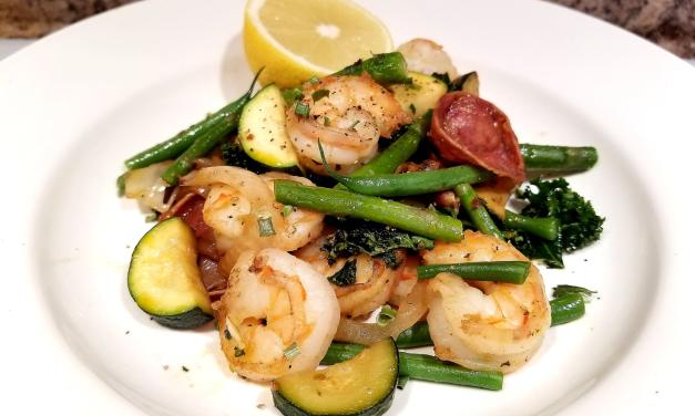 Sauté de légumes et crevettes