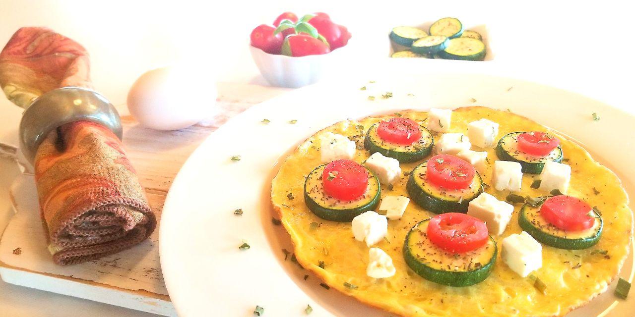 Omelette à la courgette et fromage feta