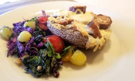 Portobello, saucisse et mozzarella