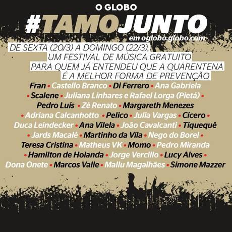 Festival TamoJunto é opção para o isolamento social.