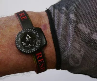 A small compass can be mounted on a wrist bracelet like a watch