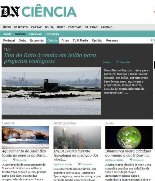 Aspecto da Secção Ciência na renovada página do DN