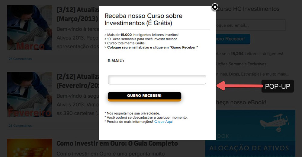 lista de email pop up O Poder do Email Marketing: Como Criar uma Lista de Email Poderosa