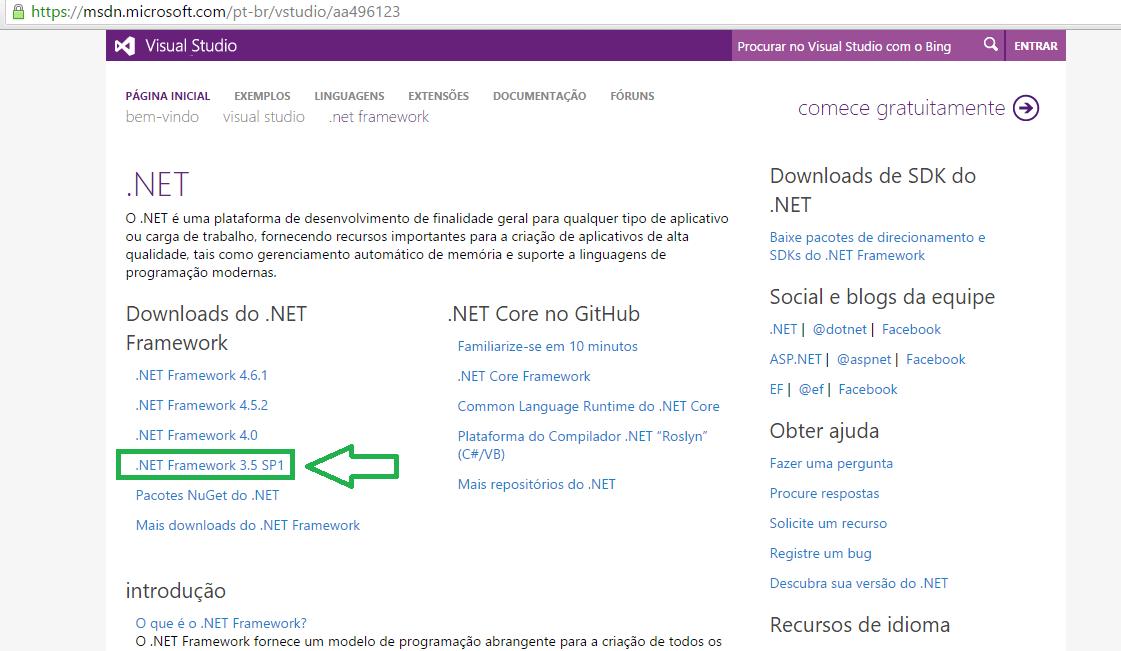 Traderline 2 - Site para instalar o .NET Framework version 3.5.