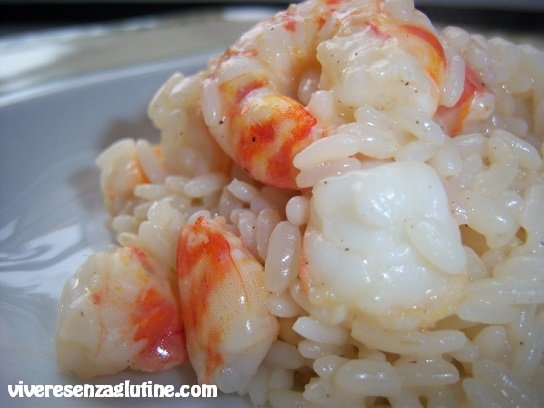 Gluten-free risotto with tiger prawns and pine nuts