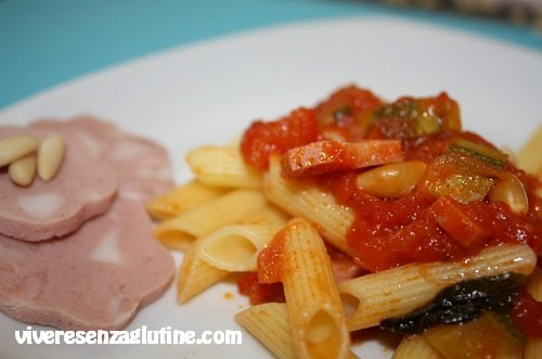 Gluten-free penne with sauce at 3 flavors