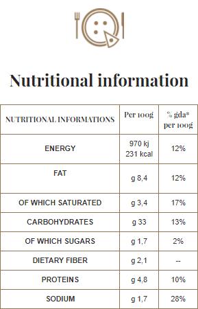 A Pizza - Nutritional information - 01. Margherita gluten-free