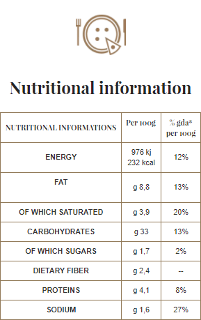 A Pizza - Nutritional information - 03. Bufalina gluten-free