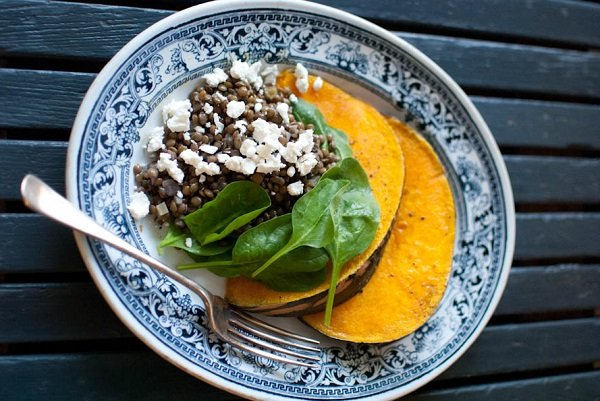 Orange flavoured roasted pumpkin with lentils