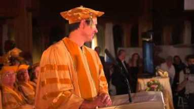 Jim Carrey en su discurso en Maharishi University of Management