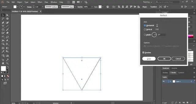 Reflect the triangle at Horizontal Basis