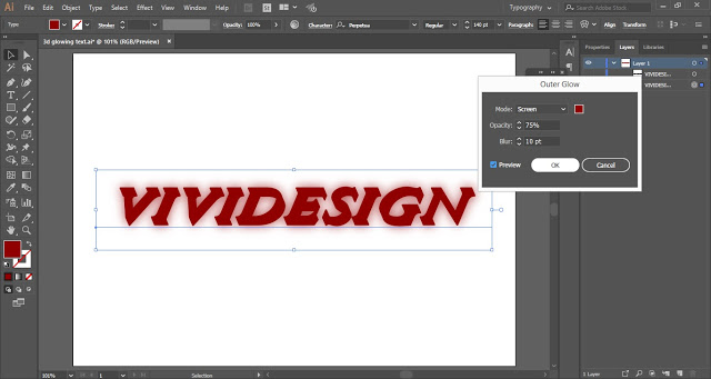 Apply Outer Glow to the 3D Text