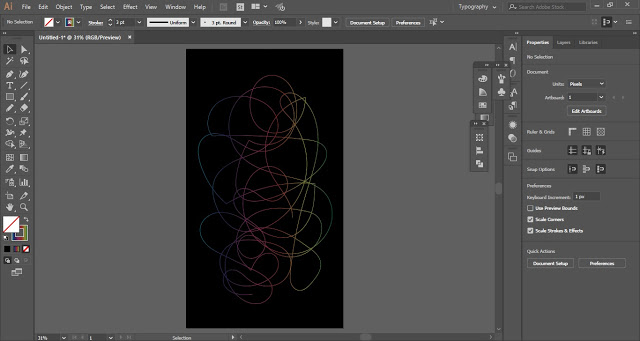 draw random lines and fill the stroke with gradient
