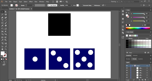 With the help of Ellipse Tool, mark the three sides of the dice