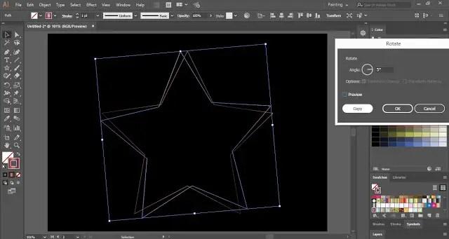 Rotate the star shape