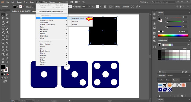 Select Extrude and Bevel from the Menu Bar
