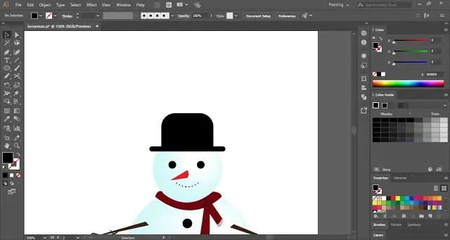 Snowman in Adobe Illustrator