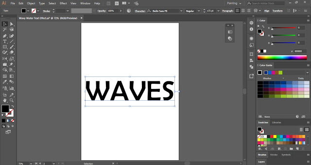 Wavy Water Text Effect in Adobe Illustrator