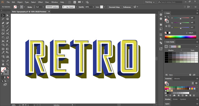 Retro Text Effect in Adobe Illustrator